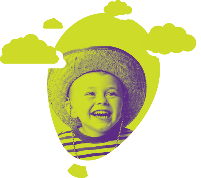 Child with green background