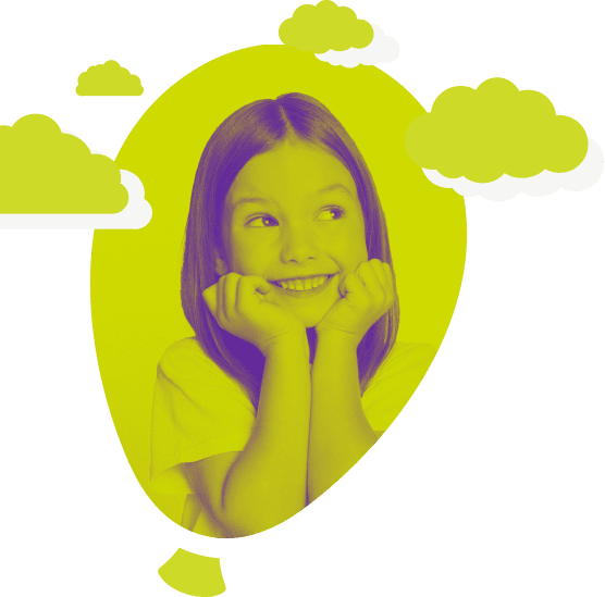 Green cloud with little girl